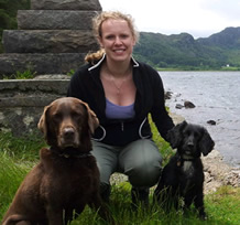 Our vet Helen with Murphy and Duke