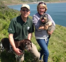Nigel and Ann with their elderly Teasel and Pippin, still going strong