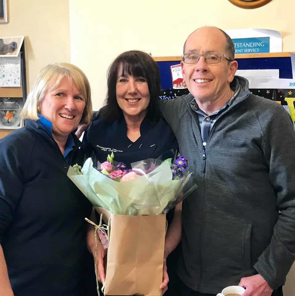 Our lovely receptionist Lisa leaves Prospect House Vets after 33 years dedicated service